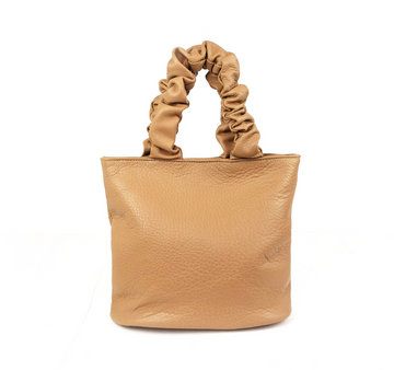 Leather Scrunchie Bag, Tan