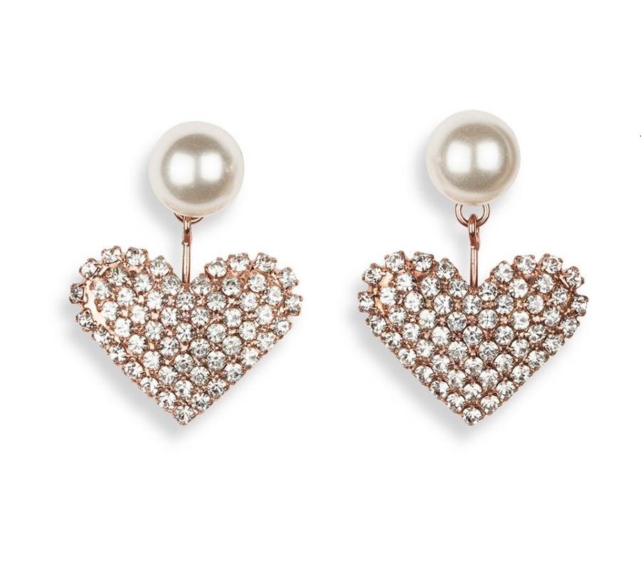 Valentine Heart Earring, Rose Gold