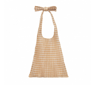 Bex Pleated Bag, White Check