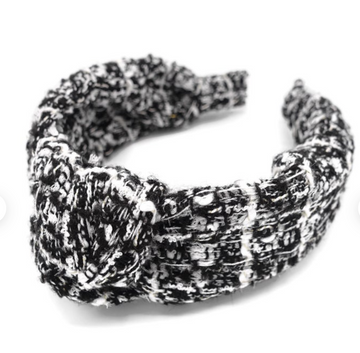 Tweed Knotted Headband, Black x White