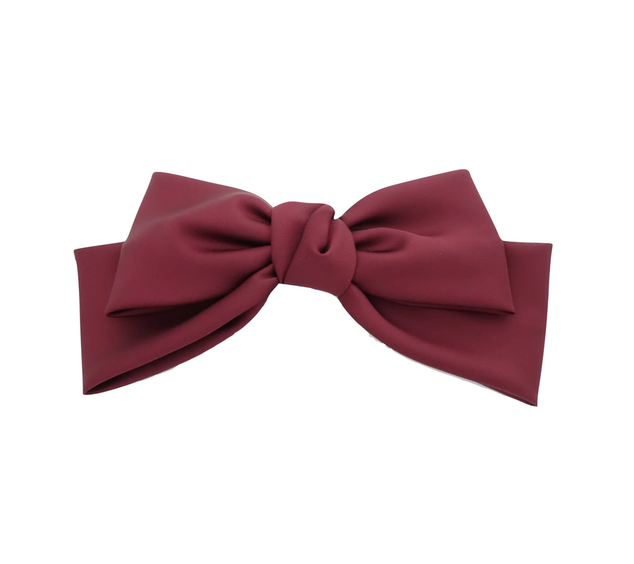Silk Statement Hair Bow, Burdundy