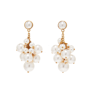 Petra Earrings, White x Gold