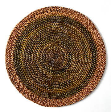 Shaded Rattan Placemat, Leaf Green