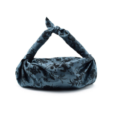 Silk Cloqué Knot Bag, Blue x Black