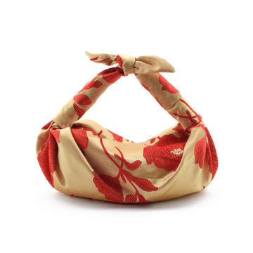 Silk Cloqué Knot Bag, Red x Gold