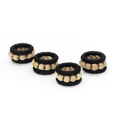 Sisal Berry Napkin Ring, Black x Flax