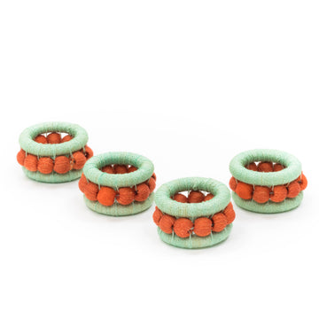 Sisal Berry Napkin Ring, Mint x Tangerine