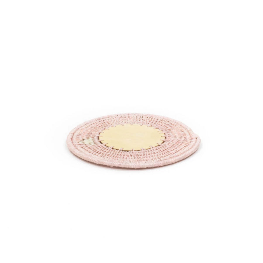Sisal & Wood Coaster, Blush