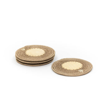 Sisal & Wood Coaster, Flax
