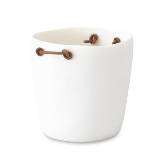 Champagne Bucket with Leather Handles, White