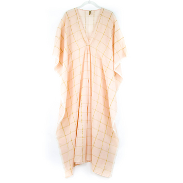Metallic Grid Caftan, Blush Pink x Gold