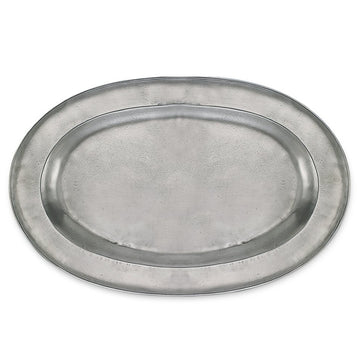 Pewter Wide Rimmed Oval Platter
