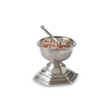 Pewter Footed Salt Cellar with Spoon