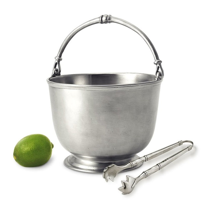 Pewter Bar Ice Bucket With Tongs Set