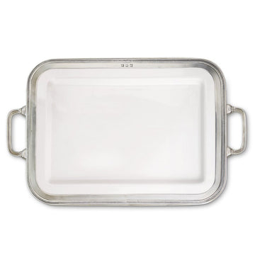Pewter Luisa Rectangle Platter Large w/Handles