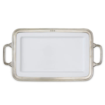 Pewter Gianna Rectangular Platter Medium w/Handles