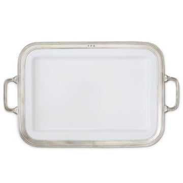 Pewter Gianna Rectangular Platter Large w/Handles