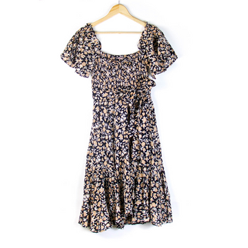 Camilla Sprig Dress, Black x Beige