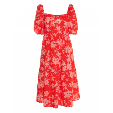 Floral Print Sleeve Dress, Red X Pink