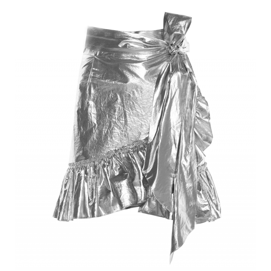Lamé Cotton Mini Skirt, Silver