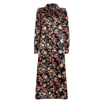 Floral Print Satin Shirt Dress, Black x Rose