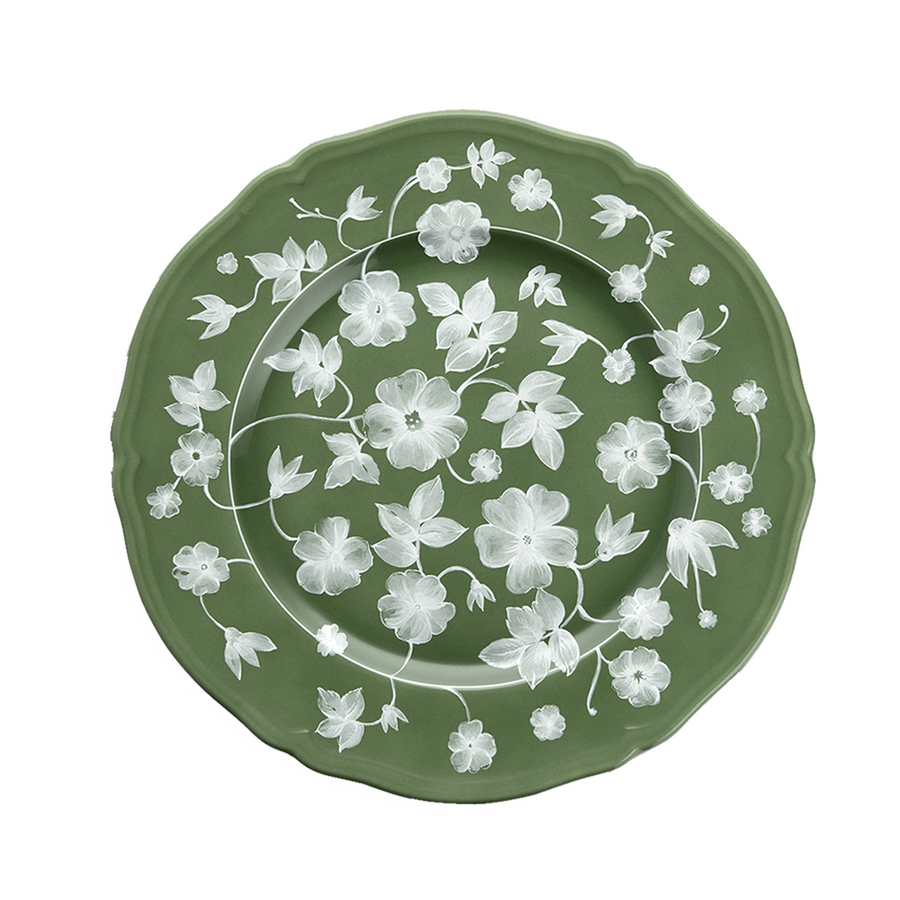 Richard Ginori Floral Plate, Green x White