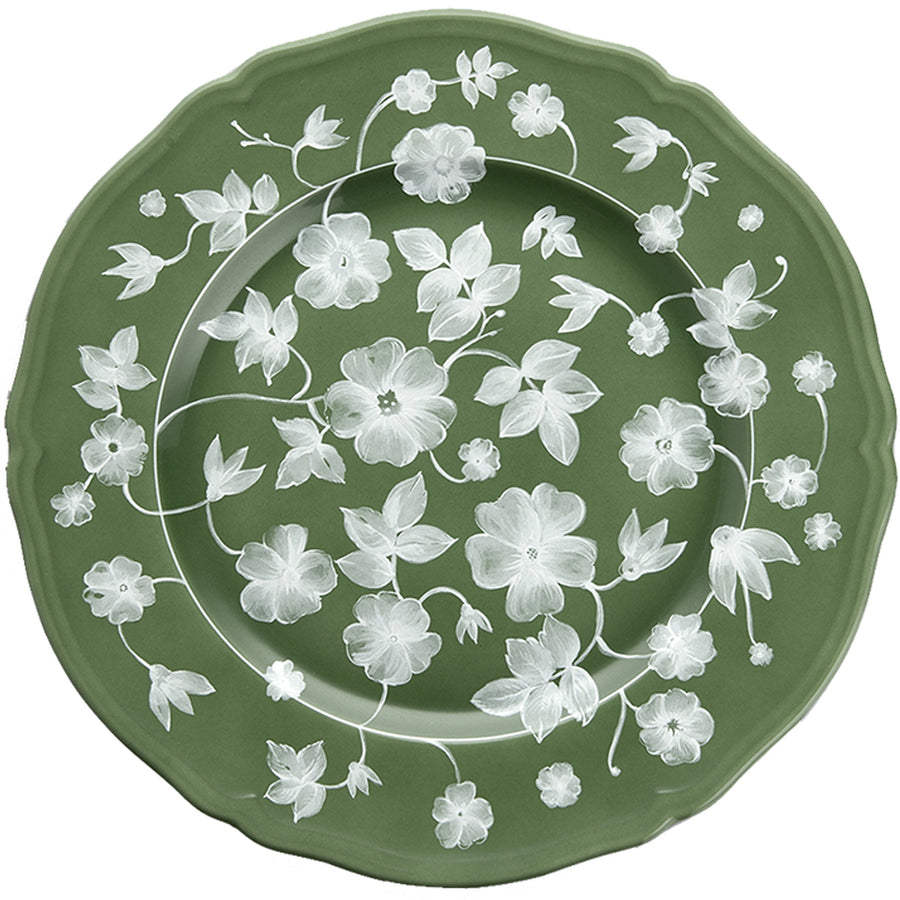 Ginori x Cabana Floral Charger Plate, Green x White