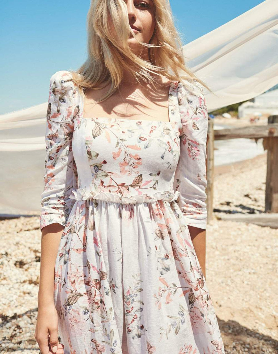 Blue Hill Dress, Trellis Floral Ivory