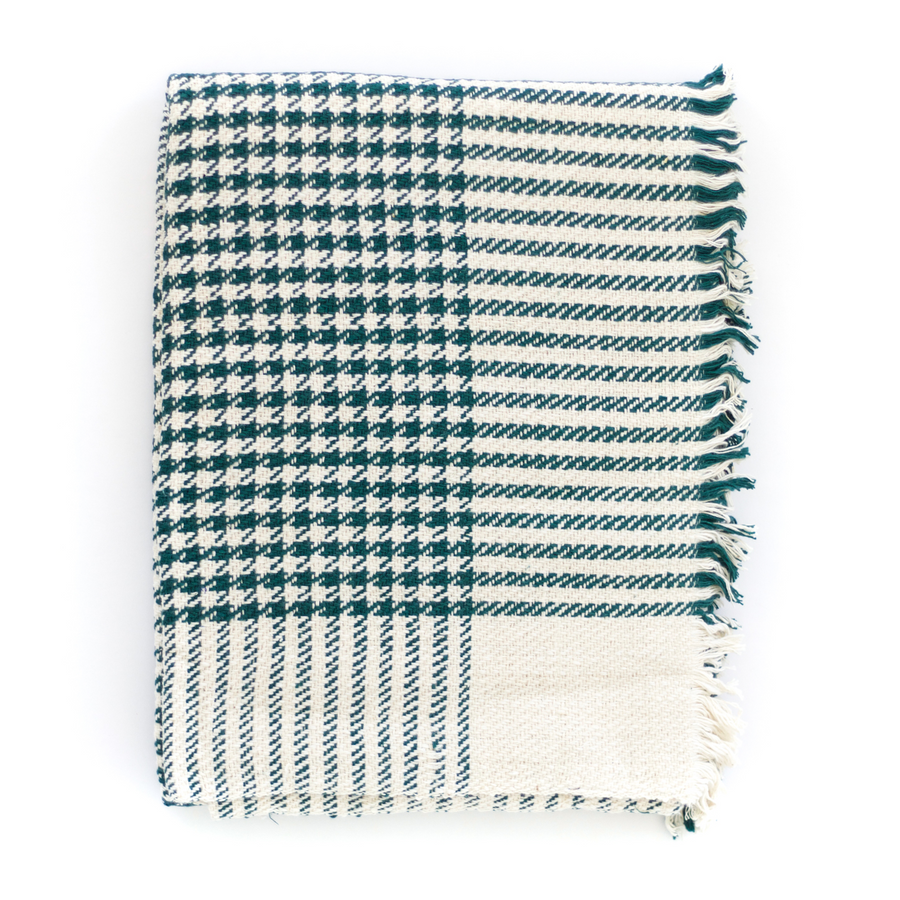 Cotton Khadi Throw, Cypress