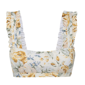 Citrus Floral Ruffle Top