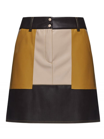 Colour Block Leather Skirt