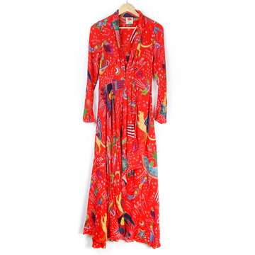 Carnival Midi Dress, Red Multi