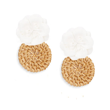 Rattan Flower Drop Earring