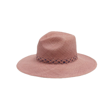 Hibiscus Straw Hat, Berry x Blue