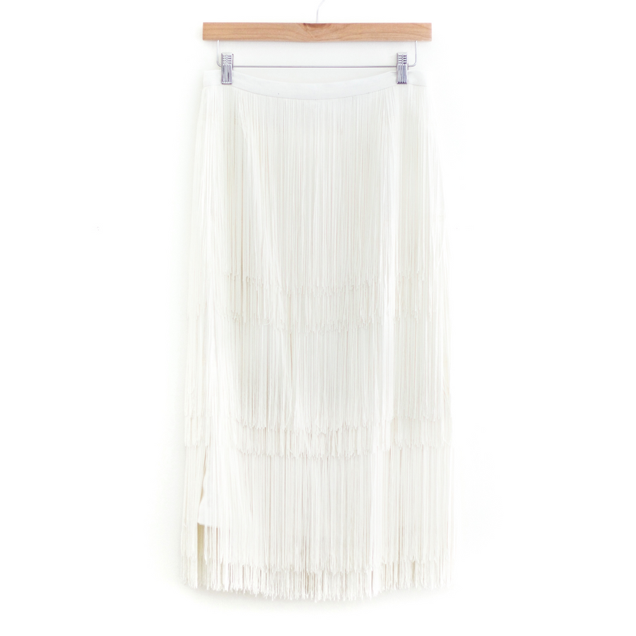 Gyre Fringe Skirt, White