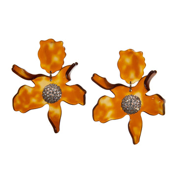 Crystal Lily Earrings, Caramel