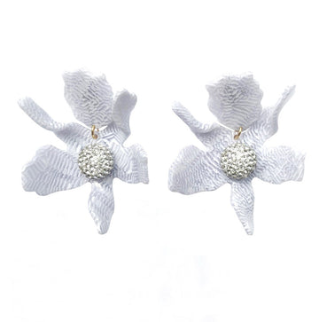 Crystal Lily Earring, White Sand