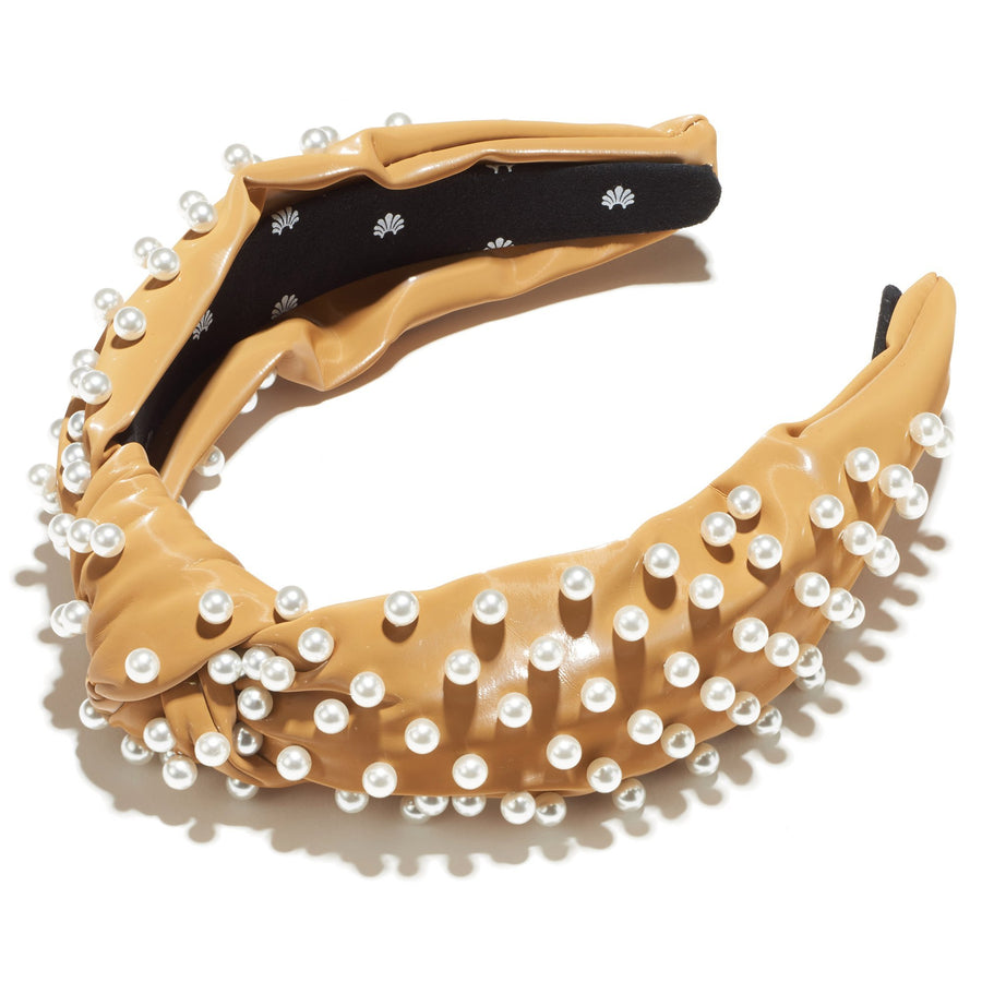 Leather Pearl Knotted Headband, Gingerbread