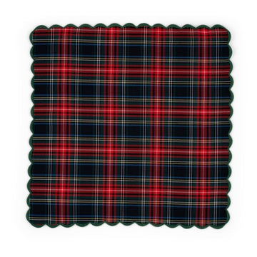 Scalloped Napkin, Christmas Tartan
