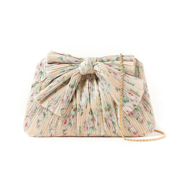 Rayne Dune Bow Clutch, Tan Floral