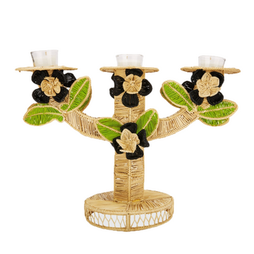 Flora Palm Candlestick, Black x Lime