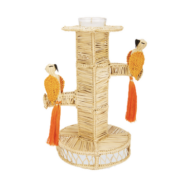 Two Toucan Rattan Candlesticks, Orange