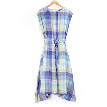 French Check Pattern Dress, Blue x Yellow