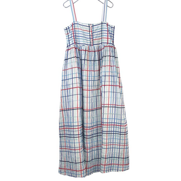 French Check Smocked Tie Dress, Red x Blue