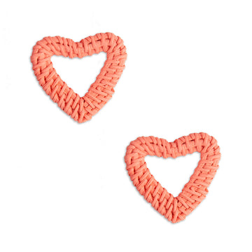 Amorette Rattan Heart Earring, Coral