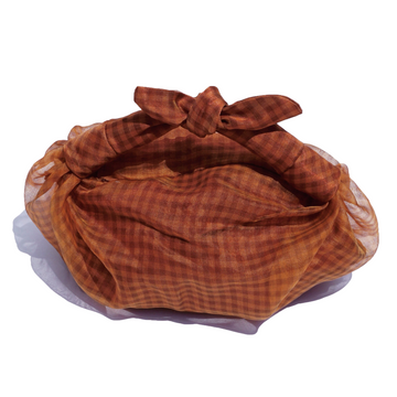 Sheer Silk Gingham Bag, Orange x Brown