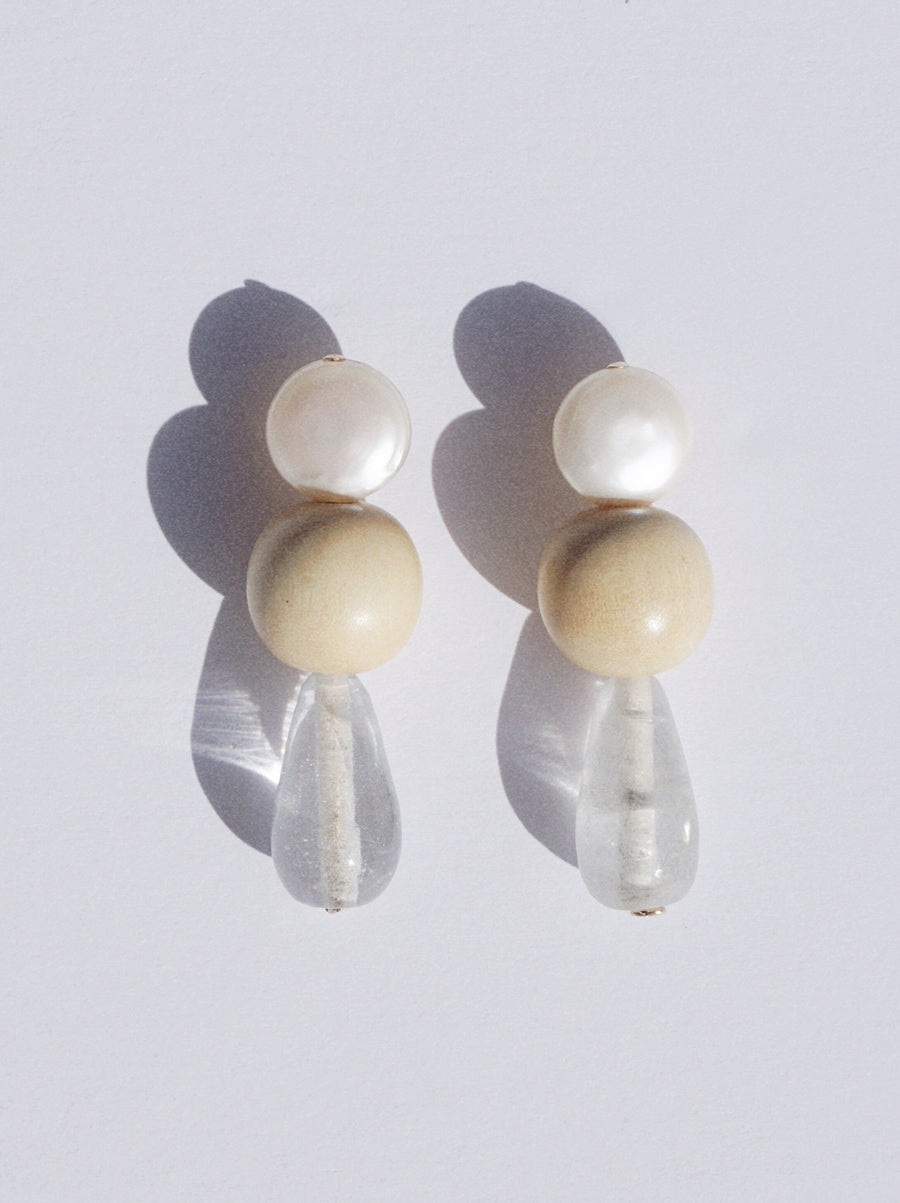 Ivory Glass Drop Earrings