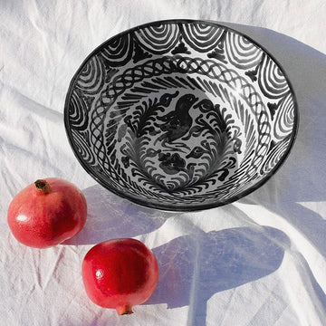 Handpainted Spanish Bowl, Black x White- Large