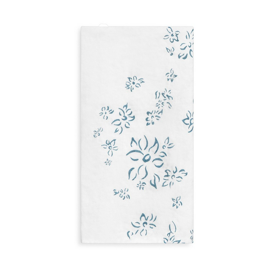 Falling Flower Linen Napkins, Light Blue
