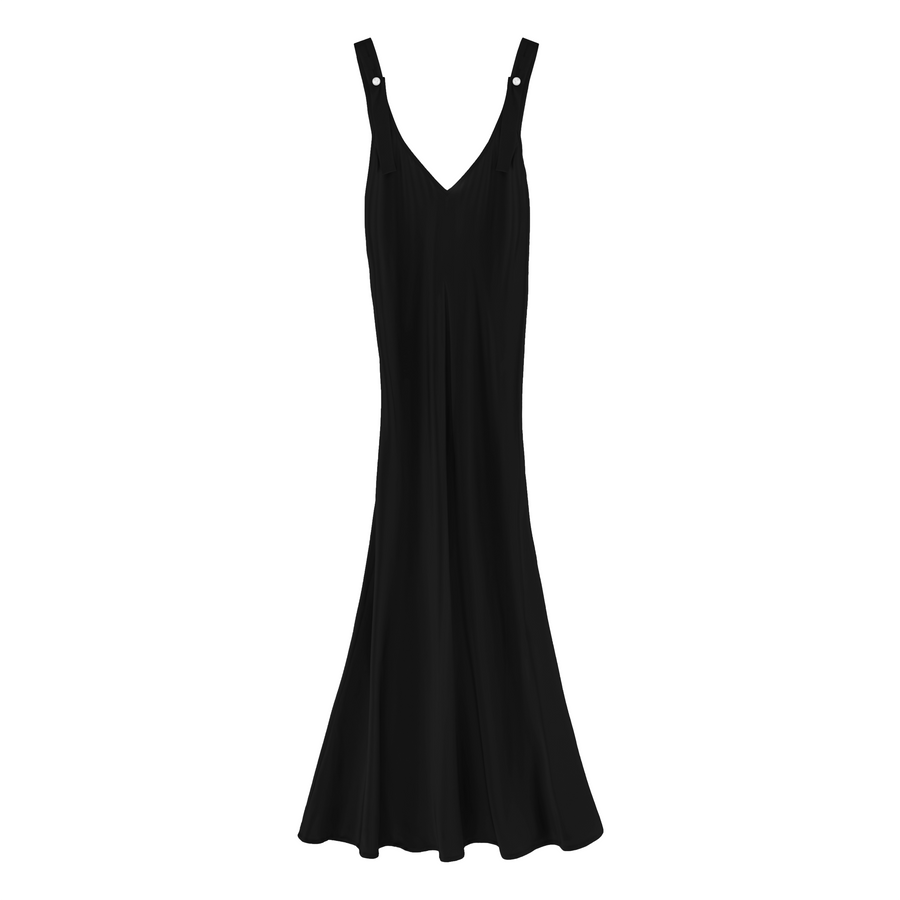 Silk Slip Dress with Pearls, Black